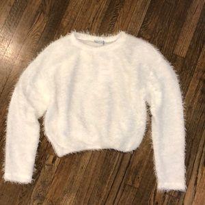 Zara Fuzzy White Sweater